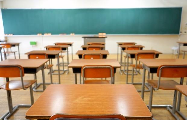 A classroom full of empty desks