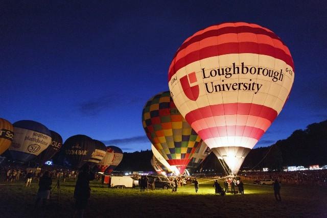 Loughborough university logo on a hot air balloon