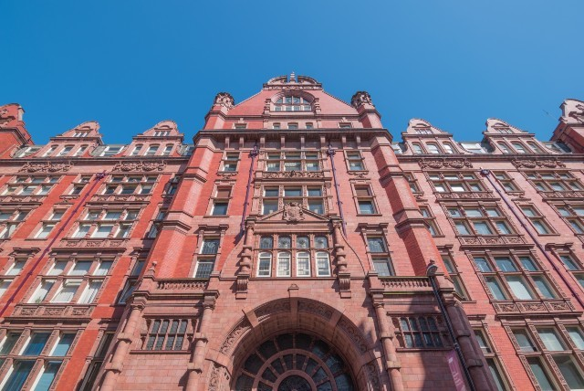 Looking up at a University of Manchester building