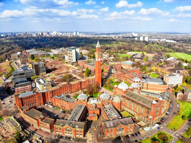 An aerial view of the University of Birmingham campus