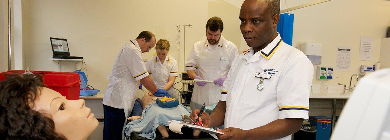 In the nursing lab