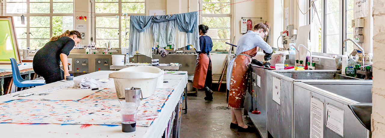 Fabric dying studio, Wimbledon College of Arts
