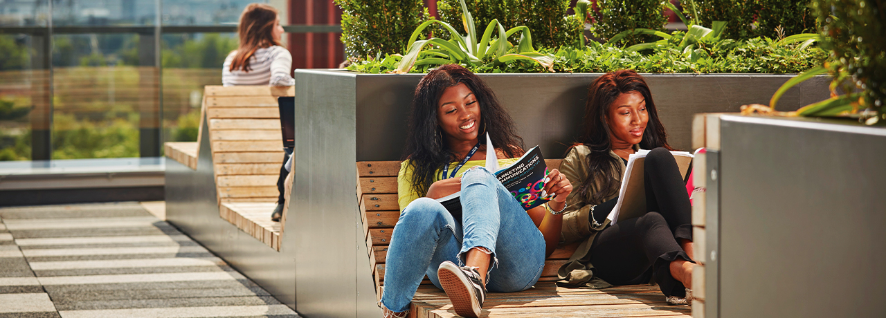 Students on balcony