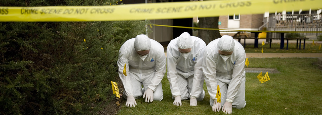 Forensic science students at work