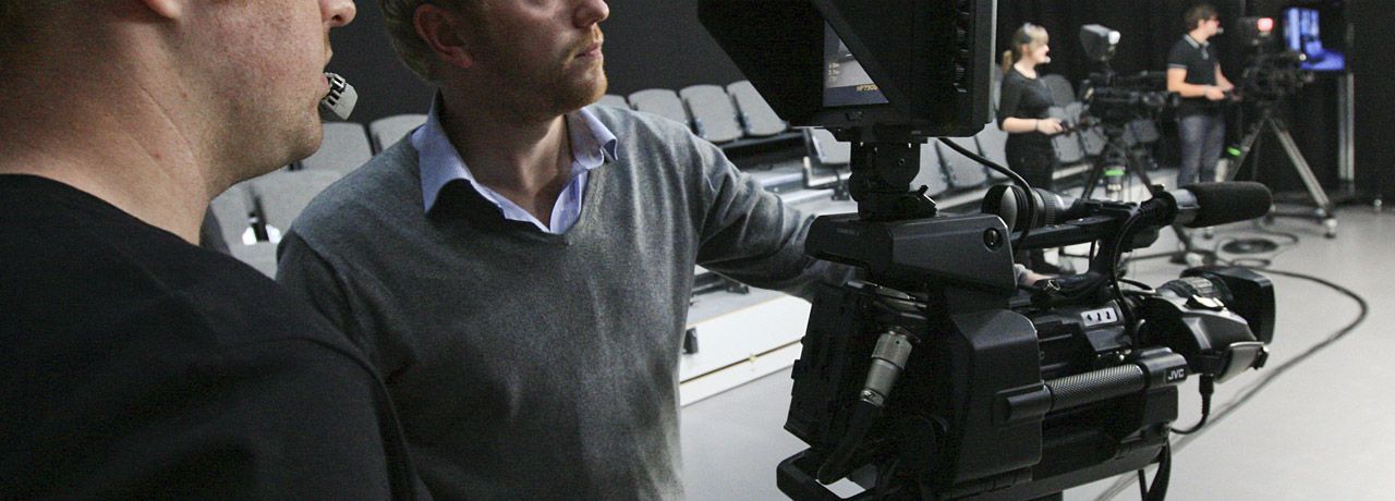 Student at work in the TV studio